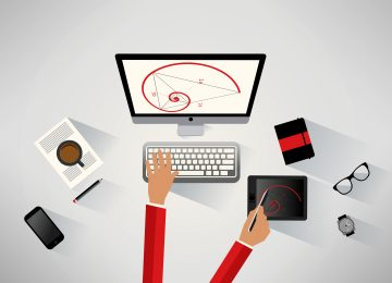 Designer working at the desk - Technical design concept