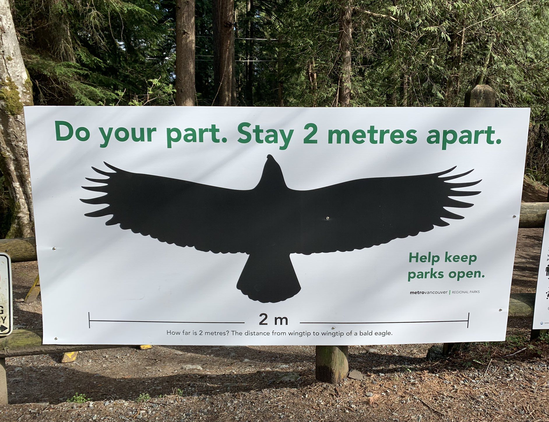 eagle image showing 2 meters apart distance